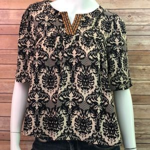 Painted threads paisley print boho blouse small